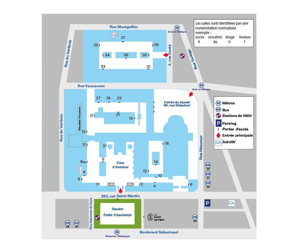 Plan Paris 3e accès de cours